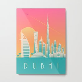 Dubai City Skyline Retro Art Deco Tourism - Morning Metal Print