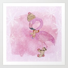 Winter Woodland Stranger- Cute Flamingo Bird Snowy Forest Illustration Art Print