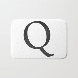 Letter Q Initial Monogram Black and White Bath Mat