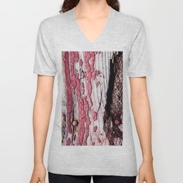 Old Broken Wooden Planks, Nails, Knots And Chipped Off Red Paint Unisex V-Neck