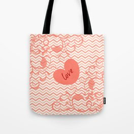 Chevron Love Peach Tote Bag