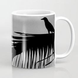 Bird silhouette with palm tree leaf in the Caribbean Coffee Mug