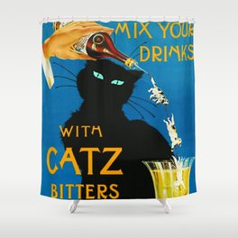 Mix Your Drinks with Catz (Cats) Bitters Aperitif Liquor Vintage Advertising Poster Shower Curtain