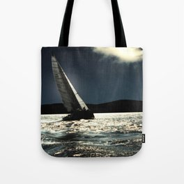 sailing boat , against to wind Tote Bag