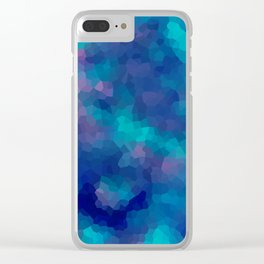 Blue-pink abstract polygonal background Clear iPhone Case