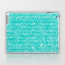 Turquoise Herringbone Lines Laptop & iPad Skin