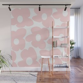 Large Baby Pink Retro Flowers on White Background #decor #society6 #buyart Wall Mural