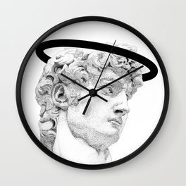 Profile of David statue by Miguel Angel (aura) Wall Clock
