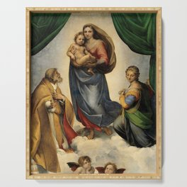 The Sistine Madonna Oil Painting by Raphael Serving Tray