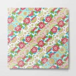 Pastel Mandala and Rose Striped Pattern Metal Print