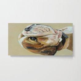 Original art work, oil painting, animal, dog, puppy, bulldog Metal Print