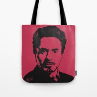 robert downey jr Tote Bags featuring Robert Downey Jr. by ArDem