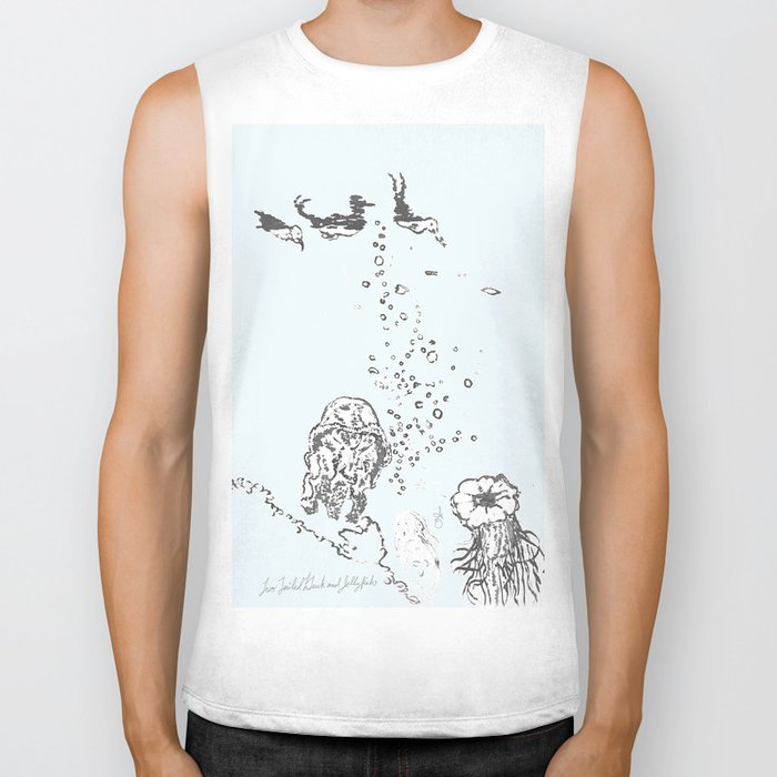 Two Tailed Duck and Jellyfish Pale Blue Biker Tank