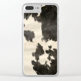 Black & White Cow Hide Clear iPhone Case