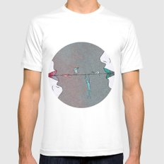 Thin line MEDIUM White Mens Fitted Tee