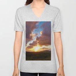 Cloudscape Sunset Sky Landscape Skyscape Unisex V-Neck