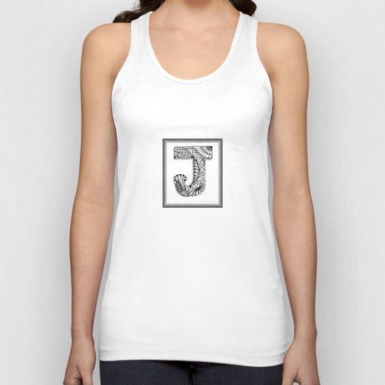 Zentangle J Monogram Alphabet Illustration Unisex Tank Top