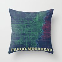 fargo Throw Pillows featuring Fargo-Moorhead Street Map by CartoPosters Maps