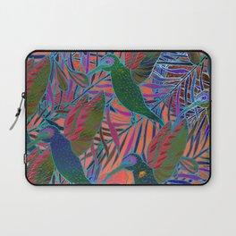 Watercolor textured seamless tropical pattern. Humming bird. Laptop Sleeve