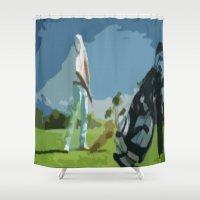 golf Shower Curtains featuring GOLF by aztosaha