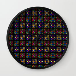 Kente Cloth Ankara Stained Glass Pattern Wall Clock