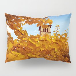 Bell Tower behind Yellow Ginkgo Leaves, blue sky Pillow Sham