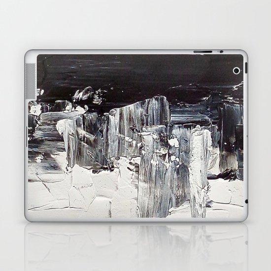 Flatline - black & white abstract painting Laptop & iPad Skin