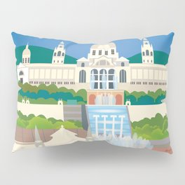 Barcelona, Spain - Skyline Illustration by Loose Petals Pillow Sham