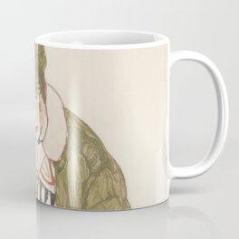 Egon Schiele - Edith with Striped Dress, Sitting Coffee Mug