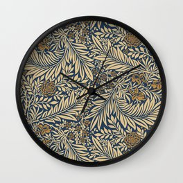Blue Vintage Floral Pattern Wall Clock