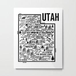 Utah Map  Metal Print