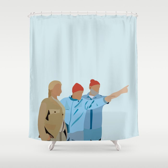 The Life Aquatic With Steve Zissou Minimalist Poster Shower Curtain By Shes That Wallflower