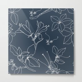 Drawings from Stonecrop Garden, Pattern in Navy Metal Print