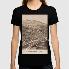 Ticonderoga Map 1891  (sepia) T-shirt