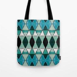 Art Deco Triangles Blue Tote Bag