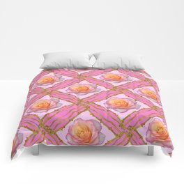 CREAMY  ROSES & RAMBLING THORNY CANES ON  PINK  DIAGONAL PATTERNS Comforters