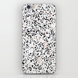 Terrazzo Stone Pattern Black and Orange Peach iPhone Skin