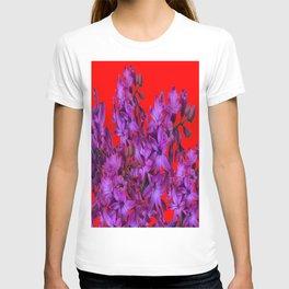 Red Color Design Amethyst Purple Hyacinth Flowers Art T-shirt