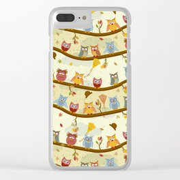 autumn owls pattern Clear iPhone Case