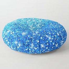 Blue Glitters Sparkles Texture Floor Pillow