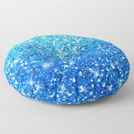 Blue Glitters Sparkles Texture Floor Pillow