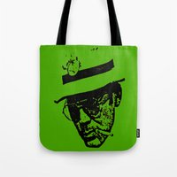 hunter s thompson Tote Bags featuring Outlaws of Literature (Hunter S. Thompson) by Silvio Ledbetter
