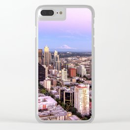 Seattle Skyline Harbor at Sunset Clear iPhone Case