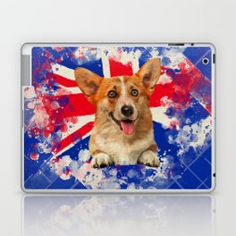 Corgi Portrait with Britain Flag Laptop & iPad Skin
