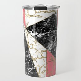 Modern abstract faux gold pink black white marble Travel Mug