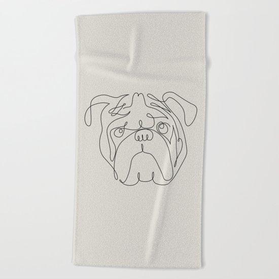 One Line English Bulldog Beach Towel
