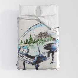 Piano with nature Duvet Cover