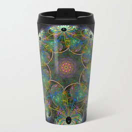 Fractal Flower in Green Travel Mug