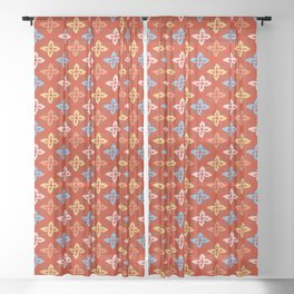 Las Flores - Red 01 (Patterns Please) Sheer Curtain