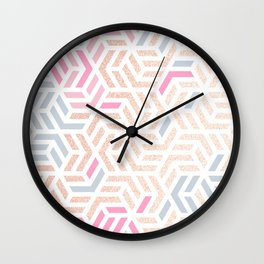Pastel Deco Hexagon Pattern - Gold, pink & grey #pastelvibes #pattern #deco Wall Clock